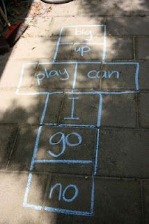 Hopscotch sight words! We also played this in my Spanish class using hulu hoops and print outs of the vocabulary were working on. Print outs also had images of the word so children can learn to associate the word with the meaning.
