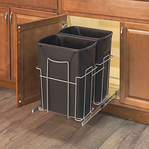 Grayline 3 Piece Dual Trash Can And Slide Out Rack Set In Black Bed Bath Beyond Kitchen Trash Cans Trash Can Garbage Can Storage