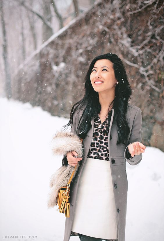 Leopard, winter white, and gray. Love this combination!