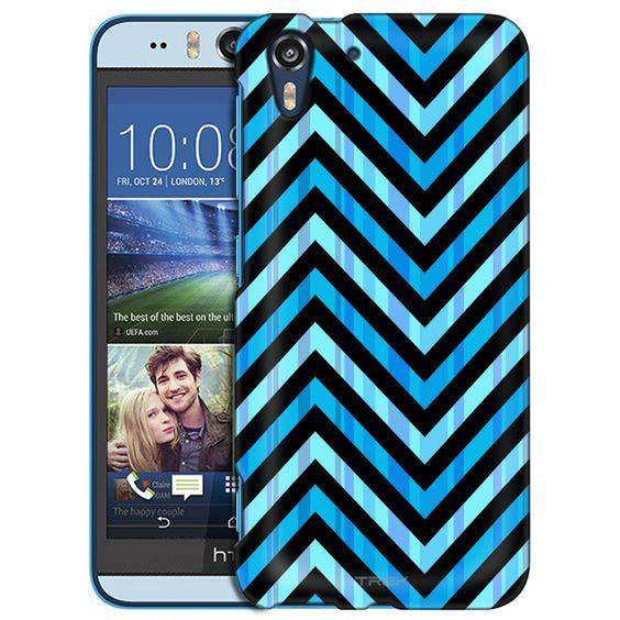 HTC Desire EYE Blue Striped Chevrons Black Slim Case