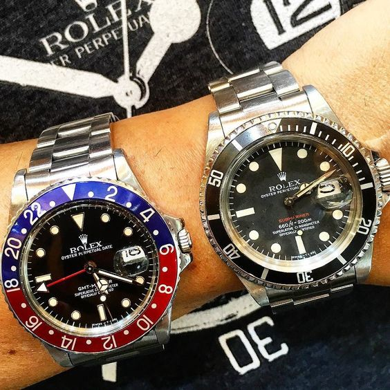 Early morning Rolex decisions....  or  ?  Both in stock but surely not for long!  #Rolex #submariner #gmtmaster #redsub #rolexpepsi #vintagerolex #vintagesubmariner #vintagerolexforum #rolexwrist #rolexero #rolexsubmariner #rolexgmt #rolexpassion #rolexaholics #rolexvintage #rolexforums #ablogtowatch #watches #watchporn #wristporn #watchfam #watchcollector #hautehorlogerie #hautetime #hodinkee #watchtime #watchanish #wotd #wristgame #head2headcopycat by decofinewatches #rolex #submariner