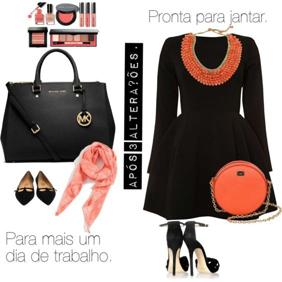 """Preto e laranja"" by amaresuficiente on Polyvore"