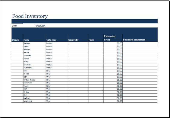 Food inventory list template at http\/\/wwwxltemplatesorg\/food - equipment inventory template
