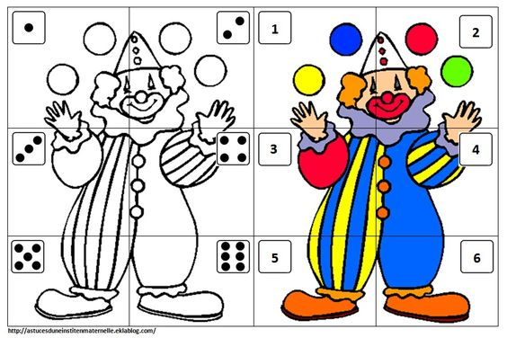 Clowns and puzzles on pinterest - Puzzle dessin ...