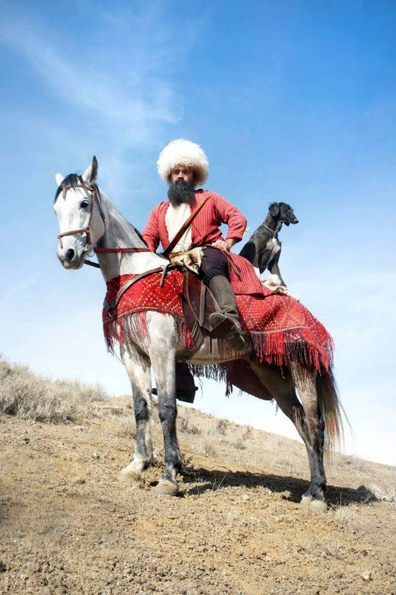 Turkmenistan. with Akhal Teke horse: