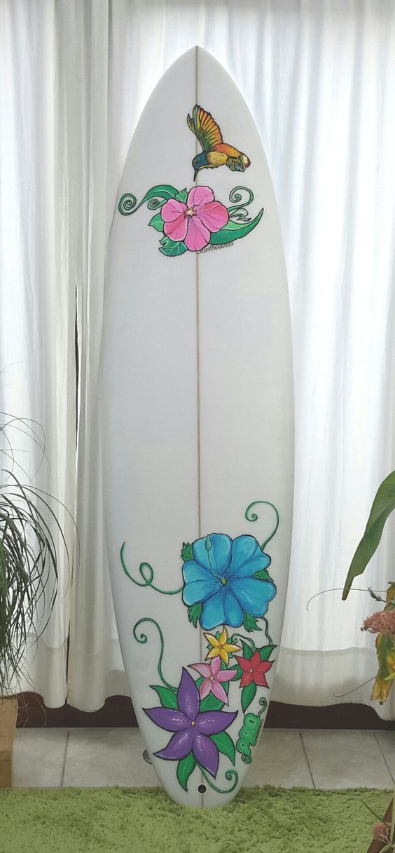 My first hand painted surfboard: using Posca Pens and paintbrush. Still needs a sealing coat which will be done by Dollarboards.