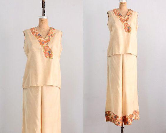Vintage 1920s pajamas • 3pc silk pajamas • 1920s oriental lounging ...