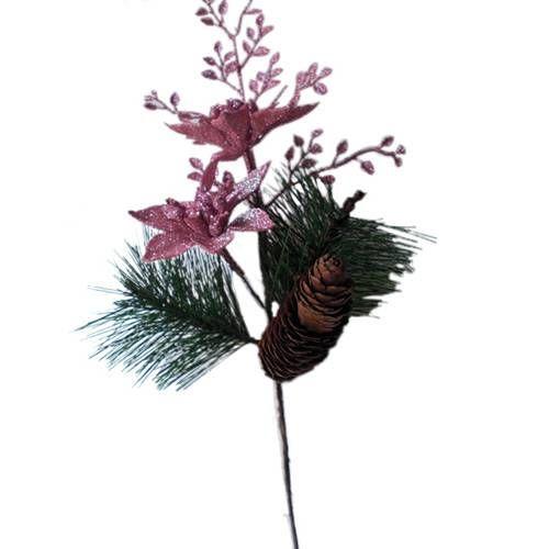 Foto 1 Galho Decorativo Luxo Para Arvore De Natal Com Flores