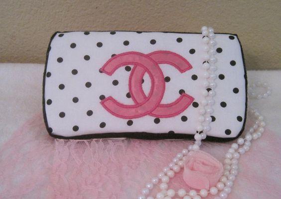 Baby wipe  case-polka dots Chanel inspired. $18.50, via Etsy.