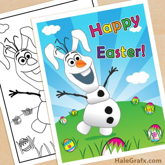 Frozen Spring Coloring Pages : Free printable frozen olaf easter poster and coloring page