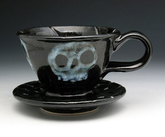 Morning Zombie Skull Pour Over Coffee by NicolePangasCeramics