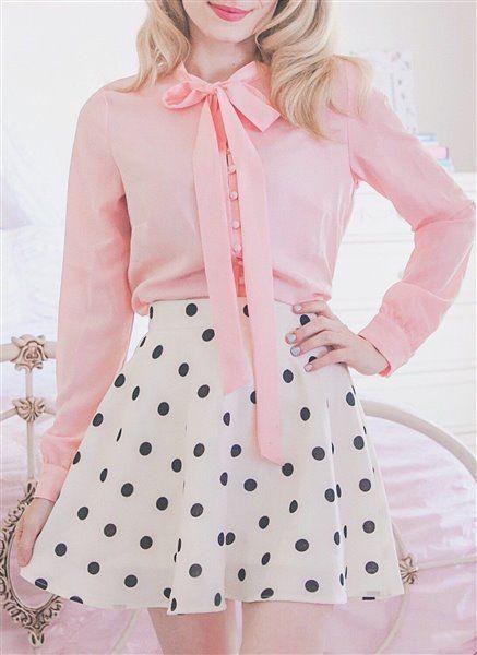 Long Sleeves Blouse And Polka Mini Skirt