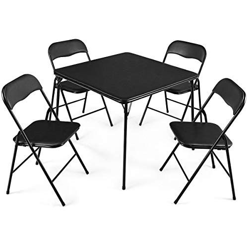 Honesty 5 Pc Black Folding Game Card Dining Table Chair Set Kitchen Meeting School Poker Card Table And Chairs Table And Chair Sets Folding Dining Table