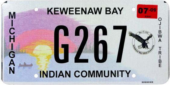 2009 Michigan INDIAN TRIBAL license plate (GIBBY CHOICE)