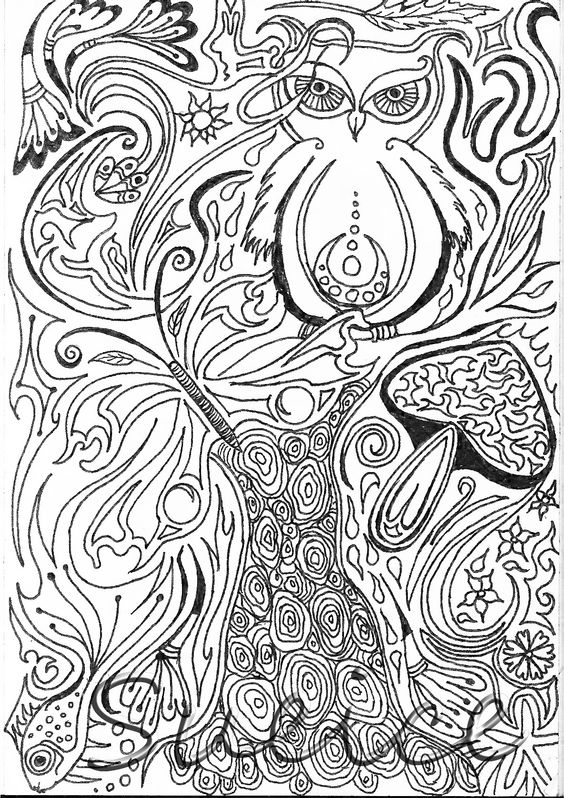 Handdrawn sketch by me (Suzy van Tol-van Peperstraten/ Sueice). With owl, mushroom, butterfly, fish and tree