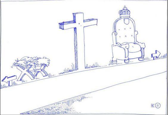 HC 12 Kribbe,Kruis, Troon Tekening bij Zondag 12 van de Heidelbergse Catechismus, Jezus ging via de kribbe en het kruis naar de Troon