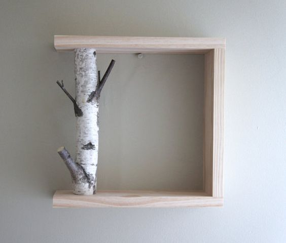 white birch forest wall art/shelf 12x12 birch by urbanplusforest