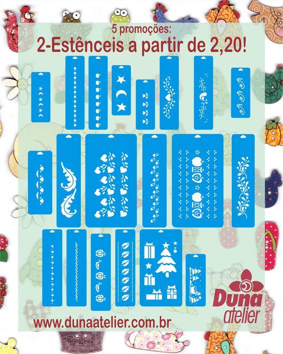 5 promoções para o carnaval no site da Duna Atelier: 1-Frete grátis nas compras acima de R$ 100,00! 2-Vários estênceis em liquidação por R$ 2,20. 3-Todas Patch Collage em promoção a partir de UM REAL! 4-Todos os Móbiles e Penduricalhos a partir de R$ 8,99. 5-Todos os Papéis para découpage a partir de R$ 0,40. Em: www.dunaatelier.com.br