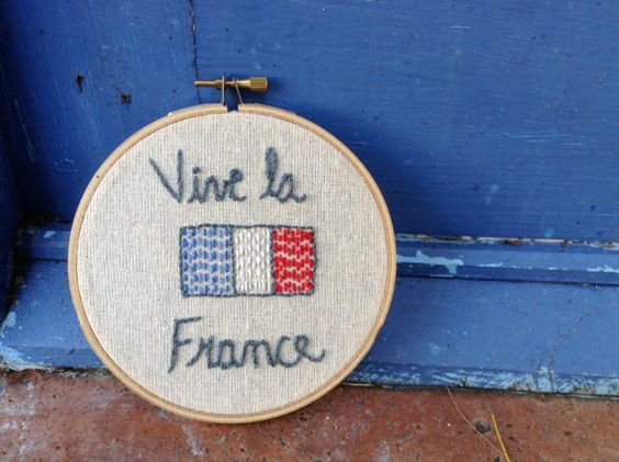 France Embroidery Hoop Vive la France by LeftyLexCreations on Etsy- Happy Bastille Day!:
