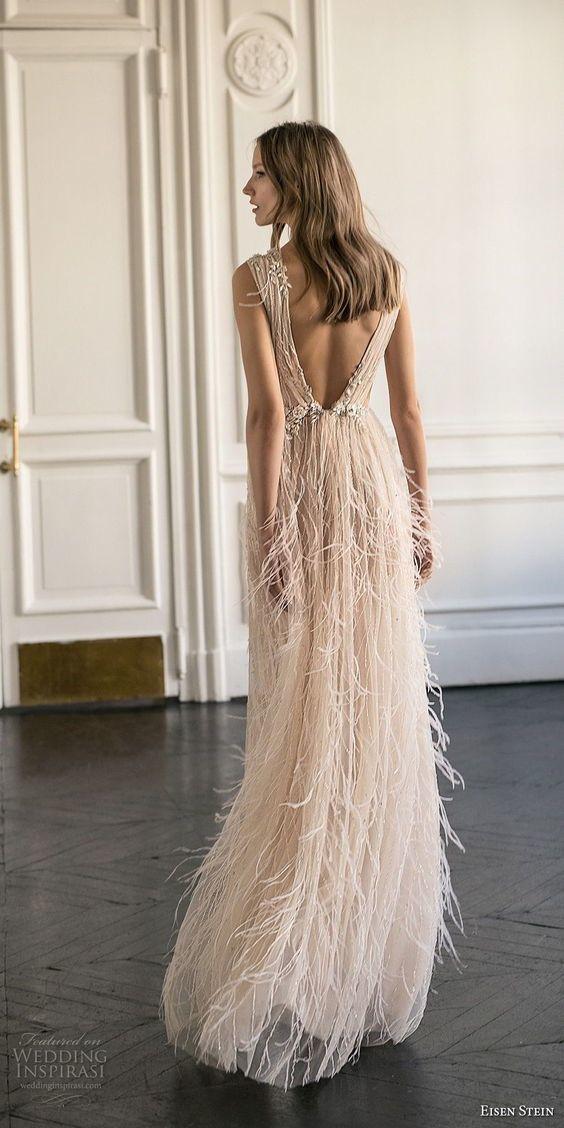 Summer Dresses,Floor Length ,Sleeveless Wedding Dress with Feather ,High Slit