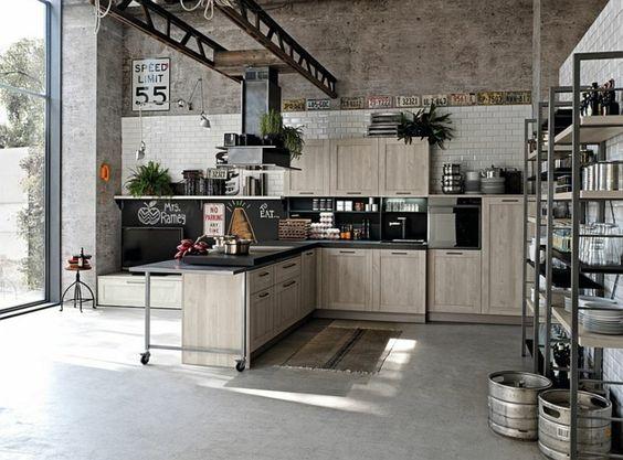 kücheneinrichtung industriell geräumig frisch grau beige   Küchen ...