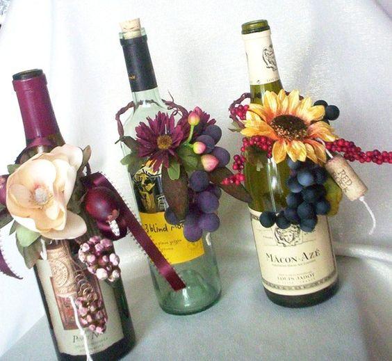 Flower Arrangements In Wine Bottles: Wine Bottles, Centerpieces And Wine On Pinterest