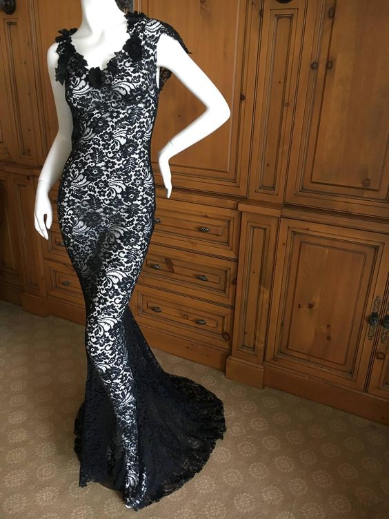 Christian Dior by John Galliano Bergdorf Goodman 1998 Lace Evening Dress