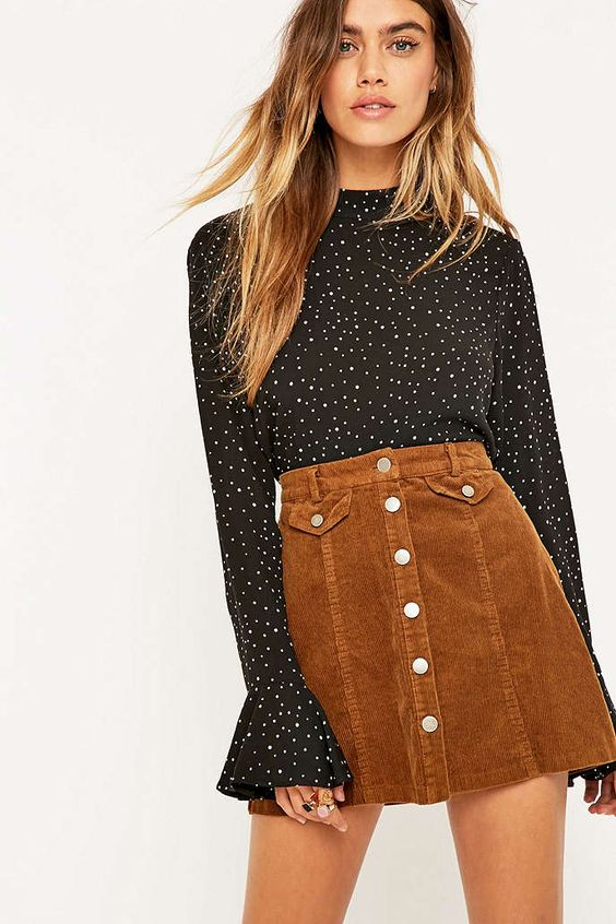 Urban Outfitters Button Front Mink Corduroy Mini Skirt - Urban Outfitters:
