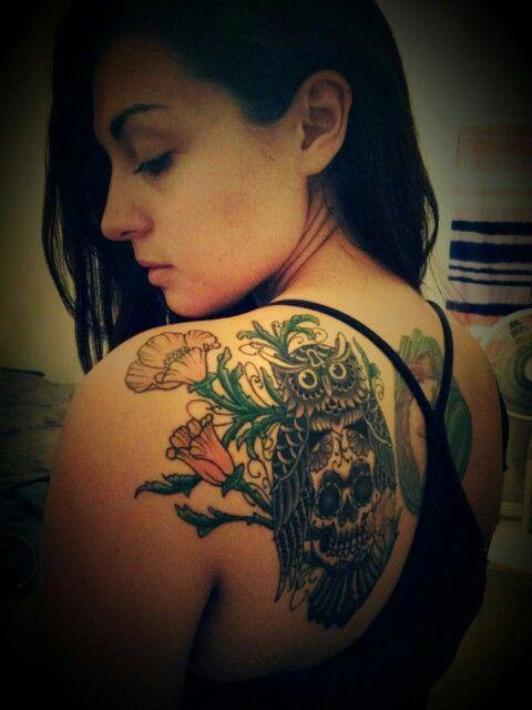 Tattoo shoulder, Sugar skull tattoos and Shoulder tattoo ...