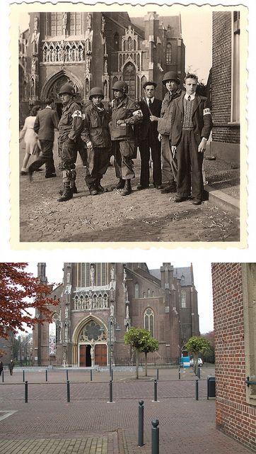 Ghosts of war - Side by side then and now. Vier Amerikaanse gewondenverzorgers en een tweetal verzetsmensen van de Landelijke Knokploegen Oranje tijdens zuiveringen in Veghel, direct na de bevrijding.
