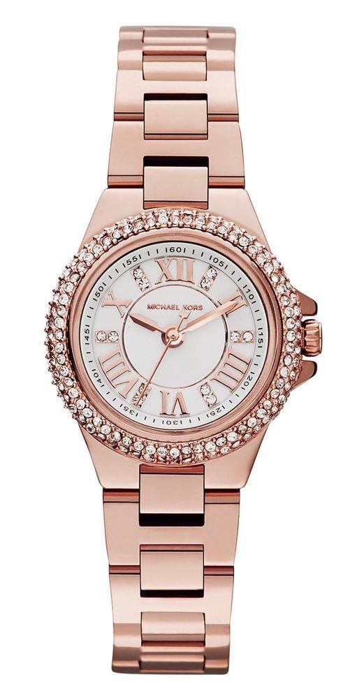 Michael Kors MK3253 New Women\u0026#39;s Camille Rose Gold-Tone Stainless Steel Bracelet