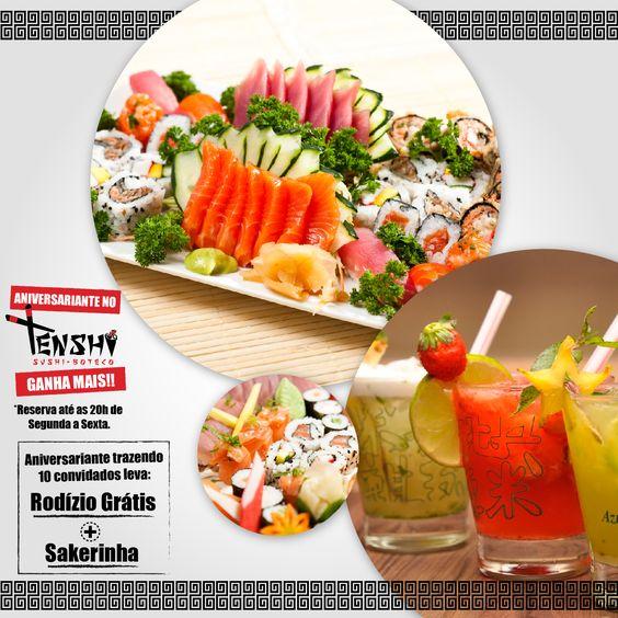 Arte para impulsionamento com 20% de texto, para as páginas Tenshi Sushi Boteco Atibaia e Tenshi Sushi Boteco Bragança Paulista