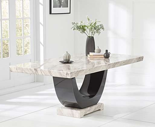 Raphael 170cm Cream And Black Pedestal Marble Dining Table With