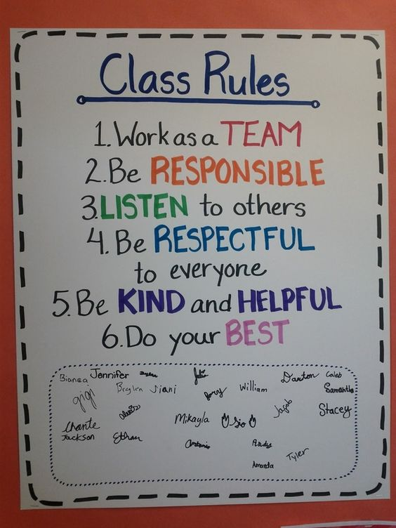 LOVE the idea of students signing their names on the rule chart after we develop rules together!