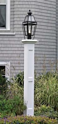 """Lindsey Pillar Post - Two recessed panels on two sides adorn this 8"""" sq., 79"""" H pillar lantern post. Decorative cap. Cellular Vinyl. Pre-finished white. Motor freight.Shown with a large Beacon lantern (22)."""