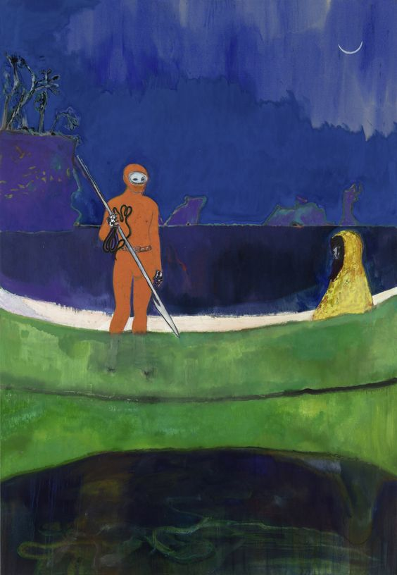 """Looking like a Canoe painting, but not quite. Peter Doig, """"Spearfishing"""" (2013), oil on linen"""