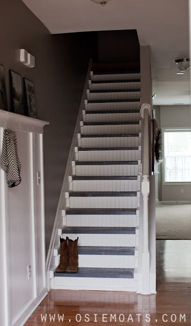 Stair makeover stairs and cheap carpet on pinterest for Cheap stair makeover