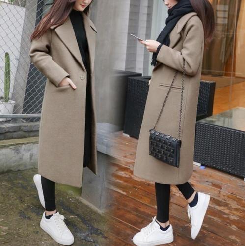 Women Warm Winter Wool Lapel Trench Parka Coat Jacket Long Slim Overcoat Outwear