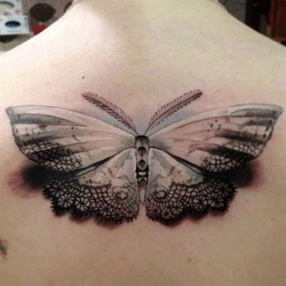 Butterfly lace tattoo