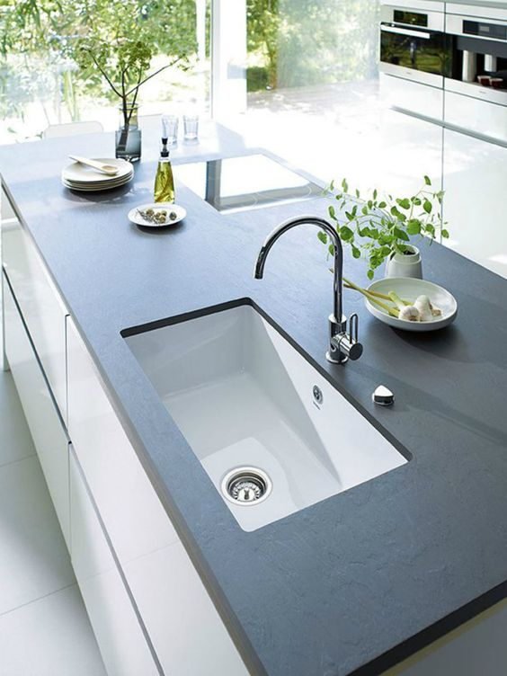 Best 25+ Slate countertop ideas on Pinterest | Dark countertops, White  kitchen cabinets and J wood kitchen cabinets