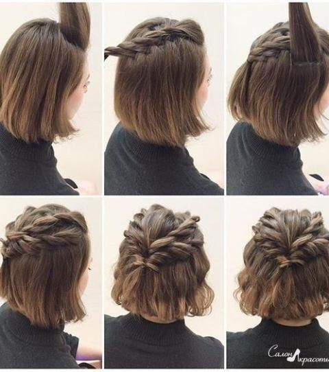 Hairstyles For Short Hair Half Ponytail Braided Braided Hair Hairstyle Hairstyles Ponytail Short Hair Updo Short Hair Tutorial Braided Crown Hairstyles