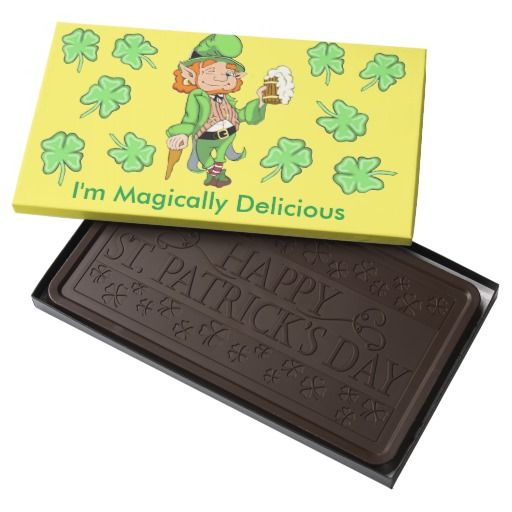 Lucky Leprechaun St. Patrick's Day Chocolate Bar Our Lucky Leprechaun is Magically Delicious. Personalize this awesome chocolate bar today. #Zazzle #StPatricksDay #Chocolate