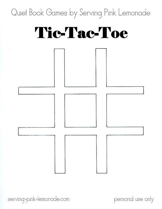 Serving Pink Lemonade Quiet Book Games Part 3 Tic Tac Toe (Free - tic tac toe template