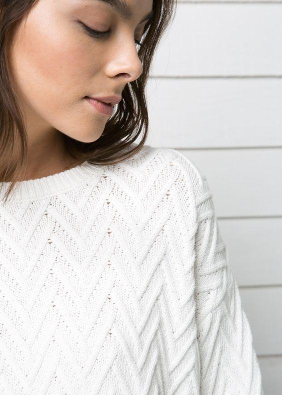 Herringbone textured sweater