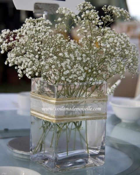 gold ribbon on center piece: Winter Wedding Centerpieces, Wedding Babys Breath, Simple Centerpieces, Baby Breaths, Beach Centerpieces, Baby S, Baby Planters