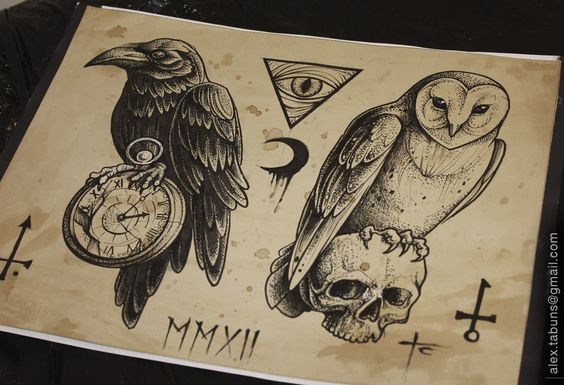 Alex Tabuns. Raven and Owl.  Beautiful. Though I don't get the skull/owl link