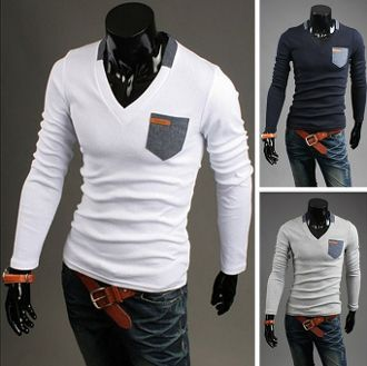 Men's Street Style V neck Long Sleeve Shirt