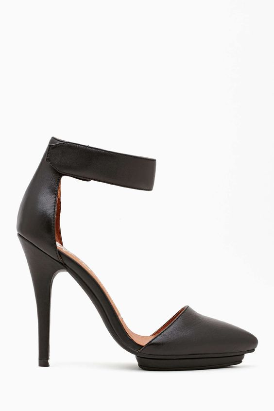 Jeffrey Campbell Solitaire Platform Pump - Black Leather |