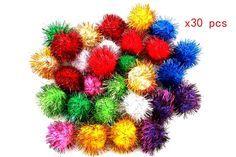 100pcs Mini Assorted Glitter Tinsel POM POMS Balls Colorful Cats Kittens Toys