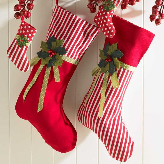 Christmas Decorations At Haskins : Stockings christmas and red white on